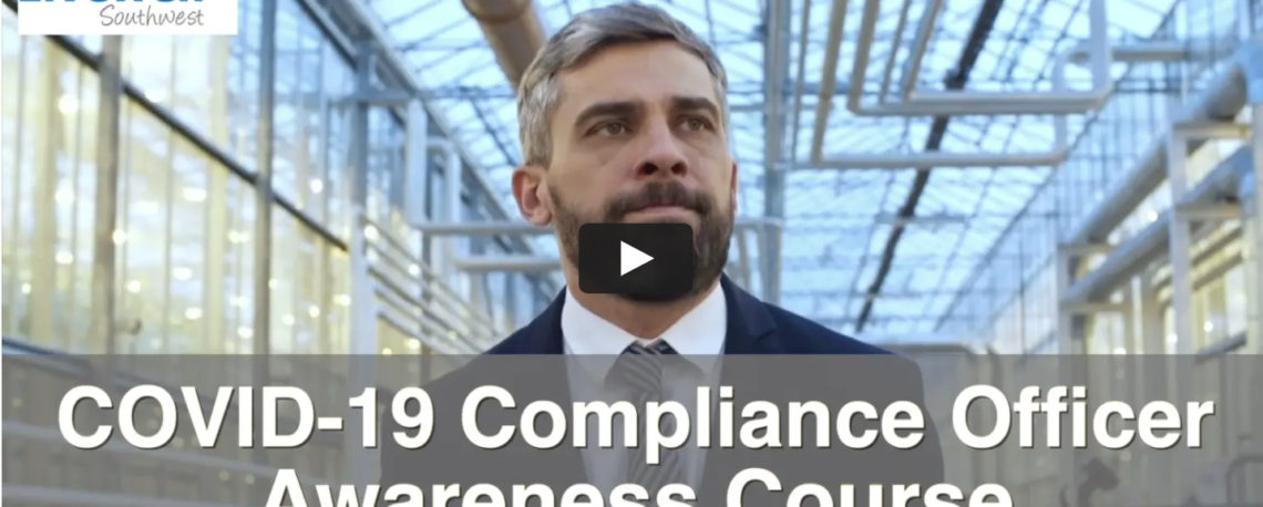 Screenshot of the video first slide of the promotional video for the COVID-19 Compliance Officer Online course