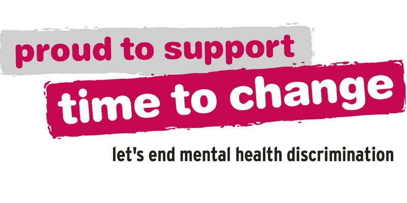 Logo slogan for time to change campaign supporting mental health